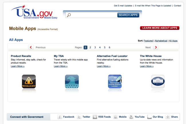 Screenshot of the US government's mobile app page.