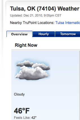 Screenshot from Weather.com showing that it was 46 degrees in Tulsa, OK today.